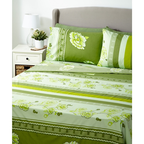Glory Home 1000 Series 6-piece Sheet Set Green Floral