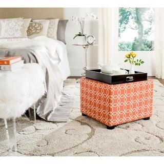 Safavieh Harrison Orange/ White Single Tray Ottoman