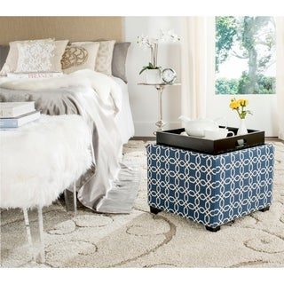 Safavieh Harrison Navy/ White Single Tray Ottoman