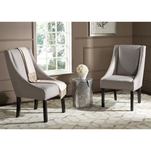 "Safavieh Dining Morris Smoke Sloping Arm Dining Chairs (Set of 2) - 23.2"" x 27.2"" x 39.4"""