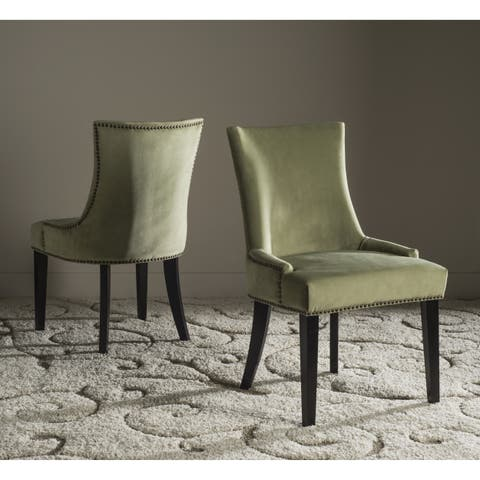 Safavieh Dining Lester Mint Dining Chair - Brass Nailheads (Set of 2)