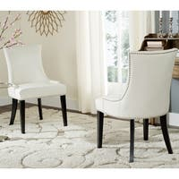 Safavieh En Vogue Dining Lester White Leather Dining Chairs (Set of 2)