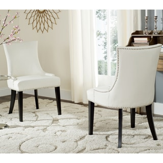 Safavieh Dining Lester White Leather Dining Chairs (Set of 2)