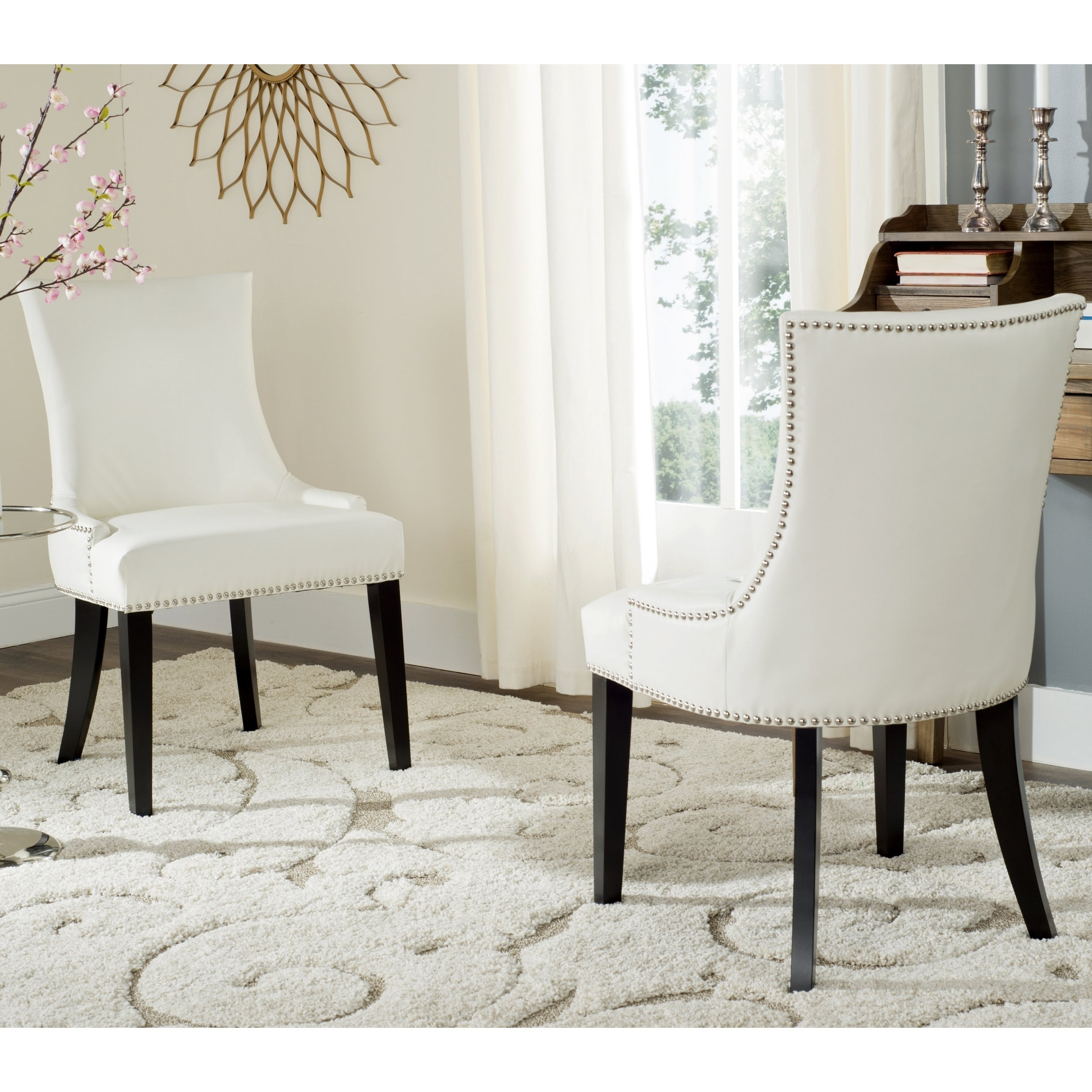 Safavieh Dining Lester White Leather Chairs Set Of 2