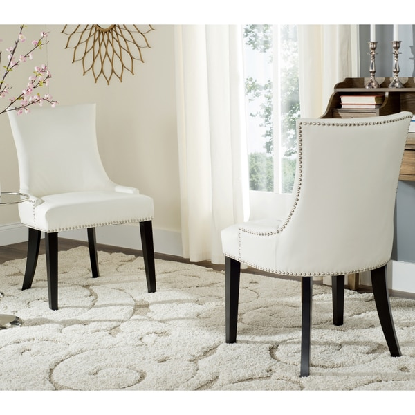 Safavieh En Vogue Dining Lester White Leather Chairs Set Of 2