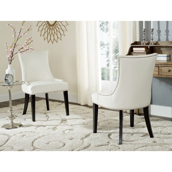 white leather dining chairs Shop Safavieh En Vogue Dining Lester White Leather Dining Chairs  white leather dining chairs