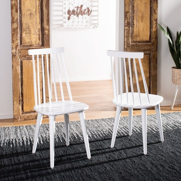Safavieh Dining Country Burris White Wood Dining Chairs (Set of 2)