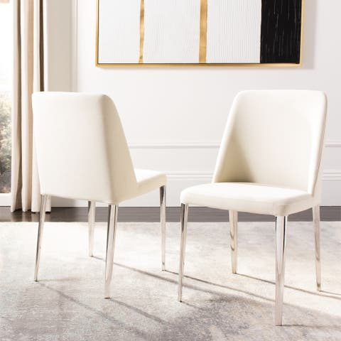 "Safavieh Dining Mid-Century Modern Baltic Linen Beige Dining Chairs (Set of 2) - 22.5"" x 17.8"" x 34.8"""