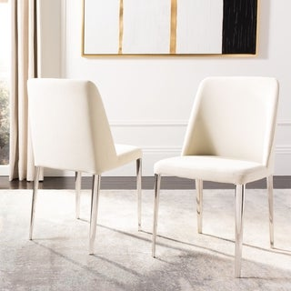 "Link to Safavieh Dining Mid-Century Modern Baltic Linen Beige Dining Chairs (Set of 2) - 22.5"" x 17.8"" x 34.8"" Similar Items in Dining Room & Bar Furniture"