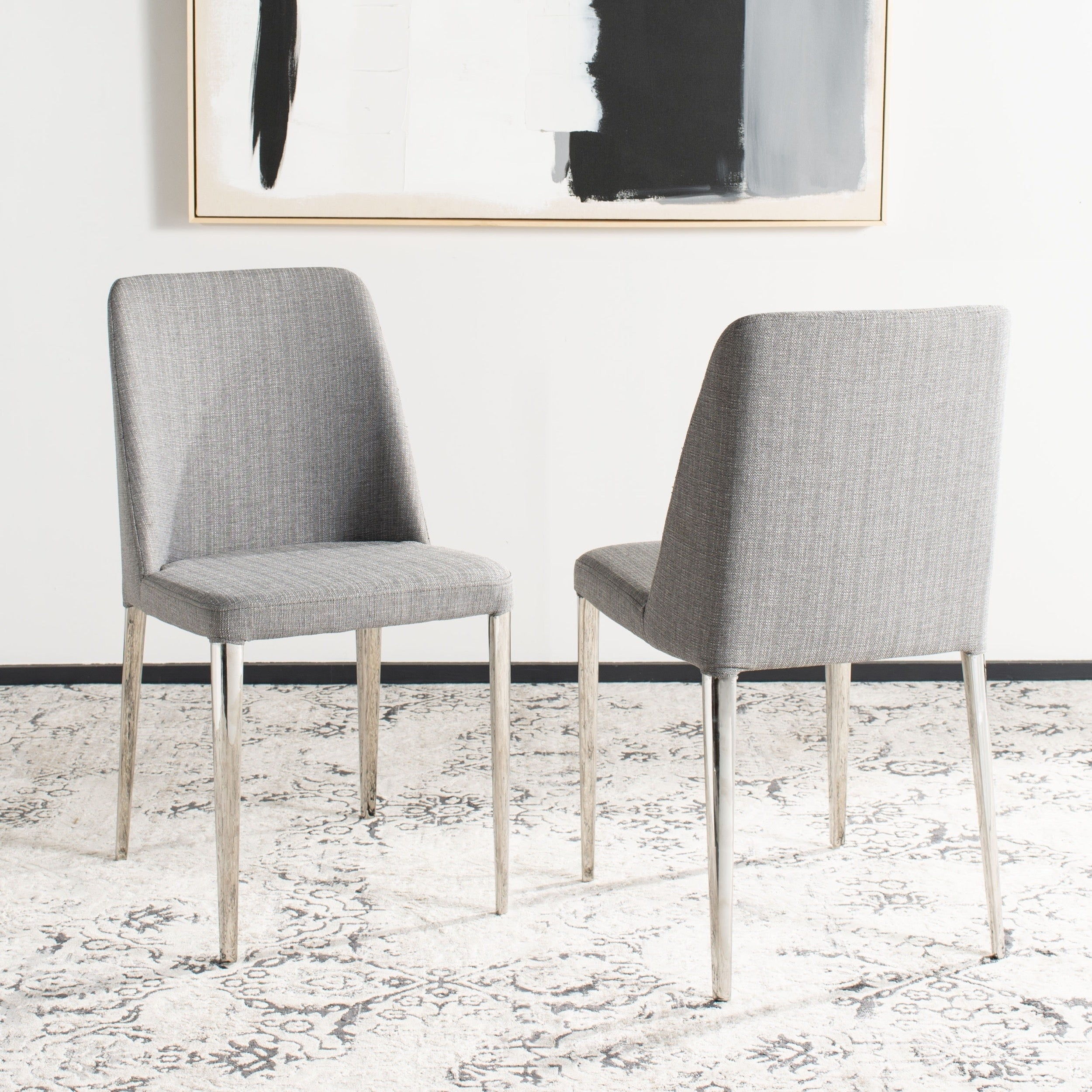 Safavieh Mid Century Dining Baltic Linen Grey Dining Chairs (Set of 2) (FOX2012G-SET2)