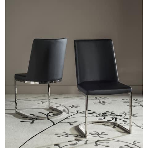 "Safavieh Dining Mid-Century Modern Parkston Black Dining Chairs (Set of 2) - 18.5"" x 22.3"" x 33.5"""