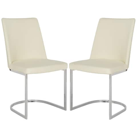 "SAFAVIEH Dining Mid-Century Modern Parkston Buttercream Dining Chairs (Set of 2) - 18.5"" x 22.3"" x 33.5"""