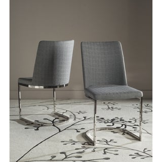 Safavieh Mid-Century Dining Parkston Modern Linen Grey Dining Chairs (Set of 2)