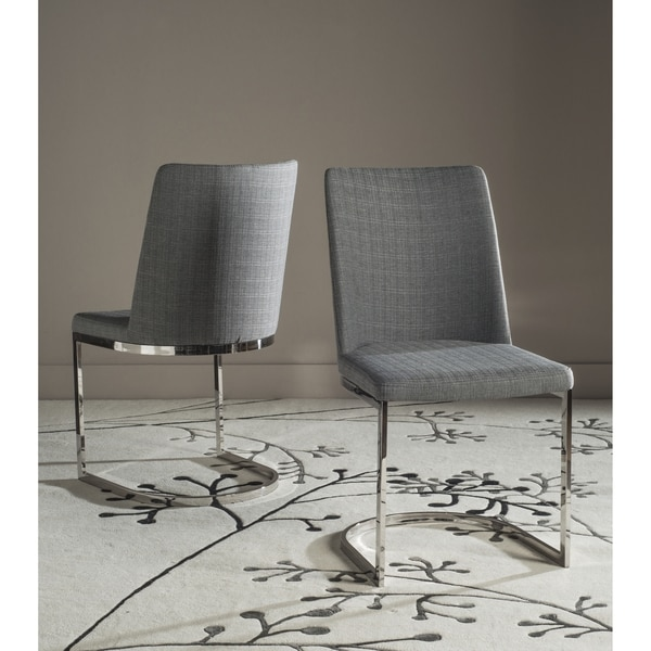 "Safavieh Mid-Century Dining Parkston Modern Linen Grey Dining Chairs (Set of 2) - 18.5"" x 22.3"" x 33.5"""