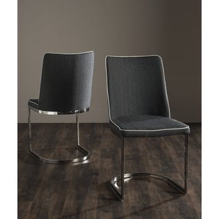 "Safavieh Dining Mid-Century Modern Parkston Dark Grey/ White Dining Chairs (Set of 2) - 18.5"" x 22.3"" x 33.5"""