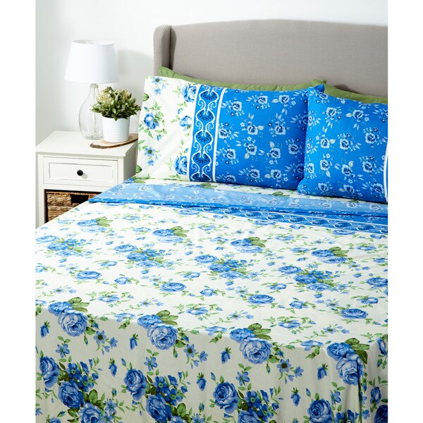 6-piece 1000 Series of Glory Home Design bedding Blue on White Floral