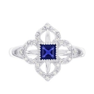 H Star 14k White Gold Created Blue Sapphire and 1/10ct TDW Diamond Ring (H-I, I1-I2)