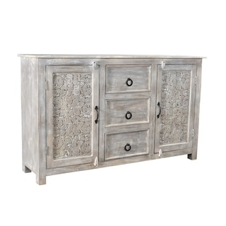 Timbergirl Hand-carved Antique Finish 2-door Sideboard Cabinet (India)