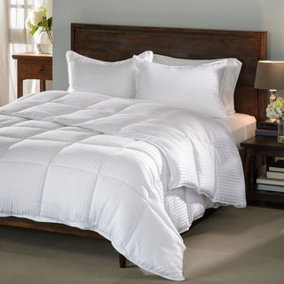Grand Down All-season Luxurious Down Alternative Hypoallergenic Striped King Sized Comforter (As Is Item)