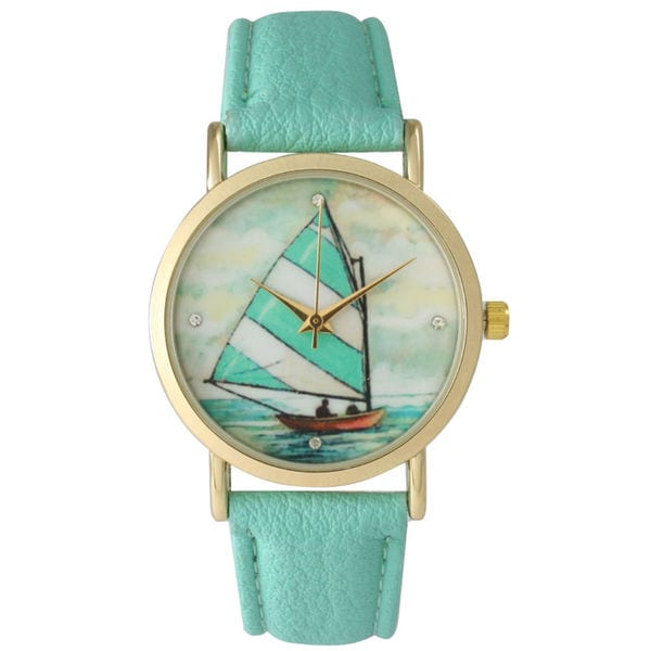 Olivia Pratt Women's Classic Style Sailboat Leather Strap Watch
