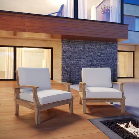 Quay Outdoor Patio Teak Chairs (Set of 2)