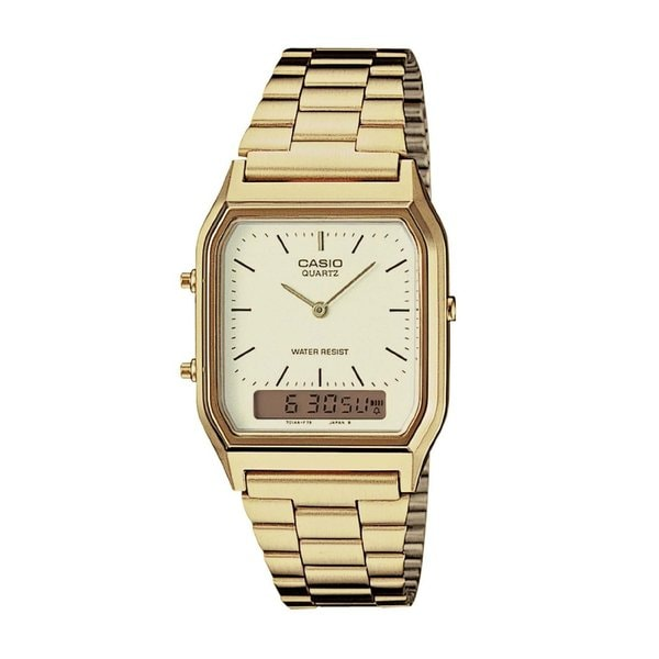 88ac83abb Shop Casio Men's AQ-230GA-9D 'Ana-Digi' Analog-Digital Gold-Tone Stainless  Steel Watch - Free Shipping Today - Overstock - 10354552