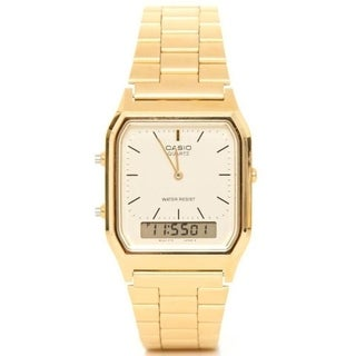 Casio Men's AQ-230GA-9D Classic Rectangle Goldtone Stainless Steel Bracelet Watch