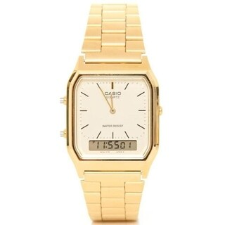Casio Men's 'Ana-Digi' Analog-Digital Gold-Tone Stainless Steel Watch