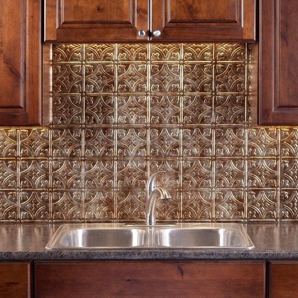 fasade traditional style 1 bermuda bronze 18 square foot fasade traditional brushed aluminum kitchen backsplash