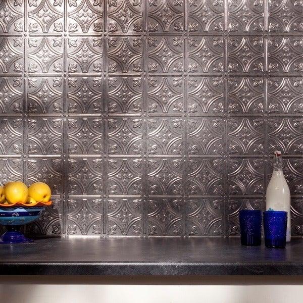 fasade traditional style 1 galvanized steel 18 square foot backsplash