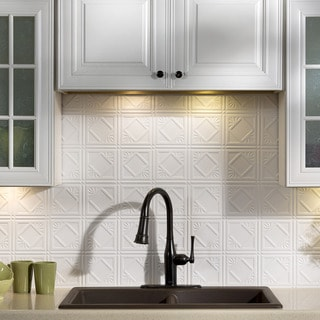 Fasade Traditional Style #4 Matte White 18x24 Backsplash Panel