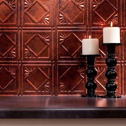 Fasade Traditional Style #4 Moonstone Copper 18 x 24-inch Backsplash Panel