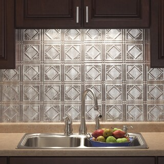 Fasade Traditional Style #4 Crosshatch Silver Backsplash Panel