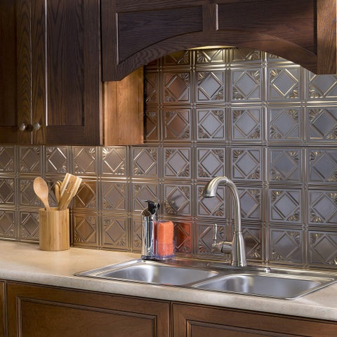 Fasade Traditional Style #4 Brushed Nickel 18-inch x 24-inch Backsplash Panel
