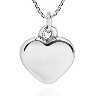 Handmade Charming 3D Love Heart Shape .925 Sterling Silver Necklace (Thailand)