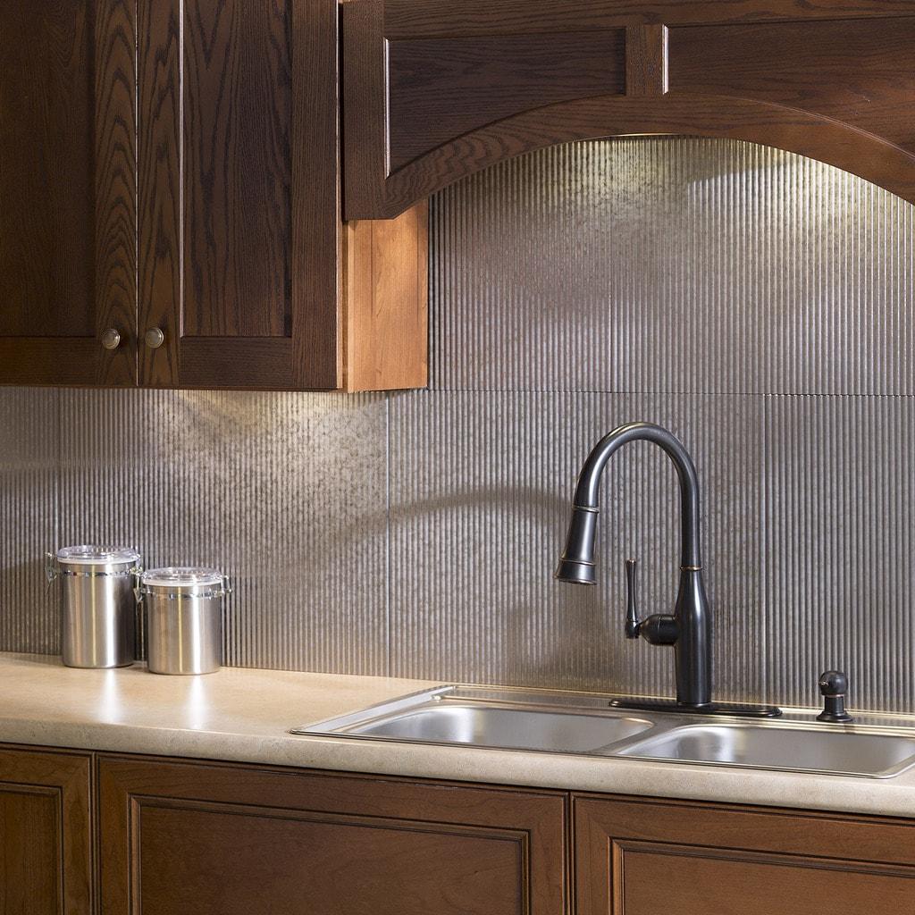 - Shop Fasade Rib Galvanized Steel 18x24 Backsplash Panel