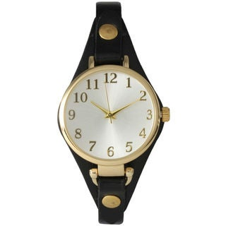 Olivia Pratt Women's Classic Goldtone Accent Leather-backed Watch