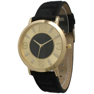 Olivia Pratt Women's Rhinestone Marker and Goldtone Accent Leather Strap Watch