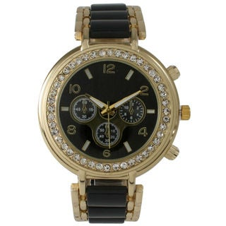 Olivia Pratt Women's Rhinestone Bezel Decorative Chronograph Watch