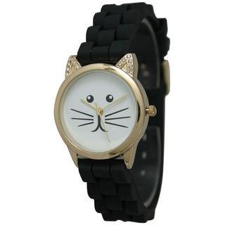 Olivia Pratt Women's Rhinestone Tomcat Silicone Watch