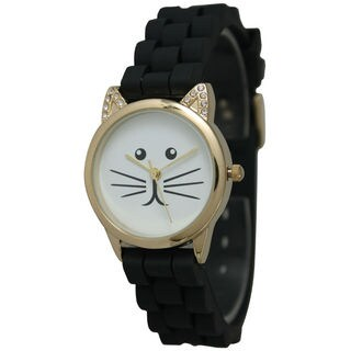 Olivia Pratt Women's Rhinestone Tomcat Silicone Watch (4 options available)
