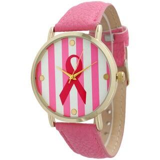 Olivia Pratt Women's Striped Breast Cancer Ribbon Watch
