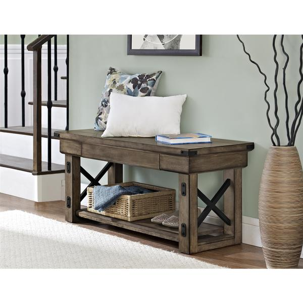 Rustic Wooden Foyer Bench : Ameriwood home wildwood veneer rustic grey oak entryway