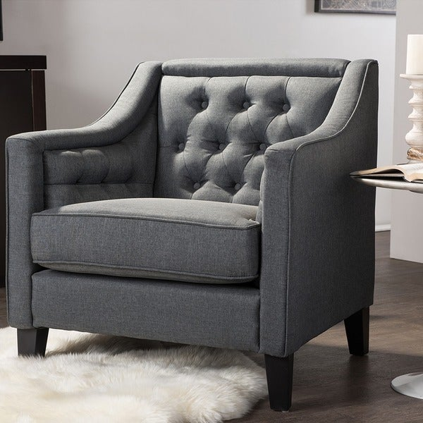 Bon Vienna Classic Retro Modern Contemporary Grey Fabric Upholstered Button Tufted  Armchair