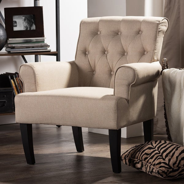 Baxton Studio Barret Modern Beige Linen Upholstered Rolled Arm Tufted Club  Chair