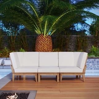 Quay 3 Piece Outdoor Patio Teak Sofa Set