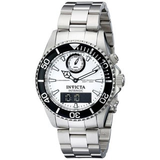 Invicta Men' s Swiss Pro Diver Intrinsic Quartz Analog and Digital Stainless Steel Bracelet Watch