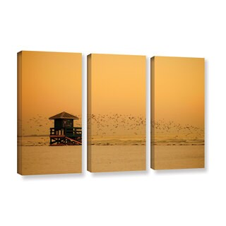 ArtWall Lindsey Janich 'Sunset' 3 Piece Gallery-wrapped Canvas Set