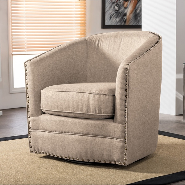 Baxton studio porter contemporary beige fabric upholstered - Modern upholstered living room chairs ...