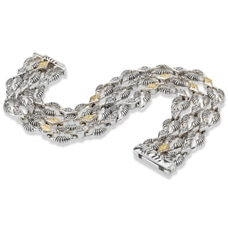 Avanti Palladium Silver and 18k Yellow Gold White Sapphire Wide Bracelet